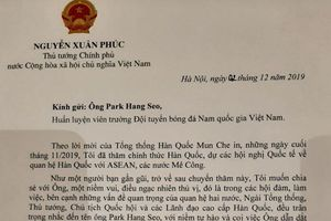 Thủ tướng Nguyễn Xuân Phúc gửi thư cho HLV Park Hang Seo