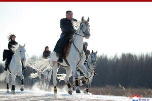 Ông Kim cùng vợ cưỡi ngựa, đốt lửa sưởi ấm trên núi thiêng Bạch Đầu