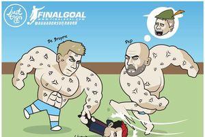 Biếm họa 24h: De Bruyne và HLV Pep Guardiola khoe cơ bắp cuồn cuộn