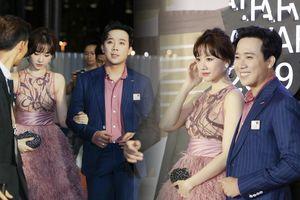 Hari Won đúng chuẩn minh tinh Hàn, ton-sur-ton với Trấn Thành, trở thành cặp đôi đẹp nhất thảm đỏ