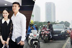 Mercedes-Benz tiền tỷ của Duy Mạnh và Quỳnh Anh va quệt với xe máy trên cầu