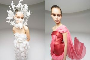 Người mẫu đeo mặt nạ lông vũ, bịt kín tay trông 'lùn một mẩu' ở show Giambattista Valli