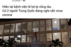 Người đăng tin 2 khách Trung Quốc nghi nhiễm virus corona nhập viện ở Vũng Tàu bị công an mời làm việc