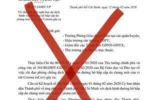 Xuất hiện văn bản giả thông báo TP.HCM nghỉ học tới 21/2
