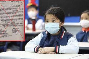 Công văn Sở GD&ĐT Thái Bình cho học sinh nghỉ học đến hết tháng 3/2020 là giả mạo