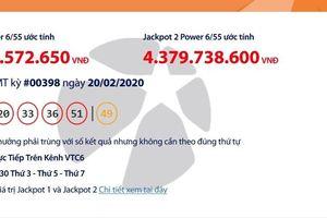 Kết quả xổ số Vietlott Power 6/55 tối ngày 22/2/2020 mới nhất: Hơn 70 tỉ đồng vừa về tay ai?