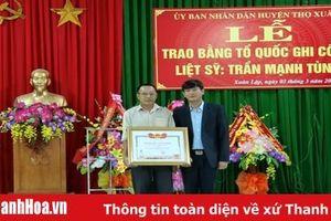 Trao Bằng Tổ quốc ghi công cho liệt sỹ Trần Mạnh Tùng, nguyên Phó trưởng Công an xã Xuân Lập