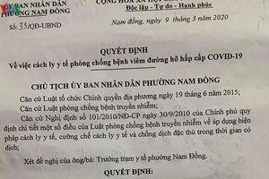 Phường Nam Đồng để 1 trường hợp F1 cách ly tại nhà, dân hoang mang