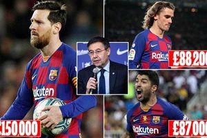 'Chóng mặt' với số tiền lương bị cắt giảm của dàn sao Barcelona