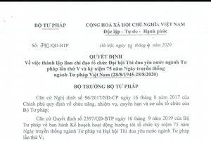 Thứ trưởng Nguyễn Thanh Tịnh làm Trưởng Ban Chỉ đạo tổ chức Đại hội thi đua yêu nước ngành Tư pháp lần thứ V