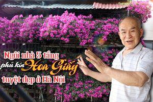 Ngôi nhà 5 tầng phủ kín hoa giấy tuyệt đẹp ở Hà Nội: 'Mùa hè mát rượi, hàng xóm còn bảo nhờ ông mà tôi được ngắm hoa đẹp'