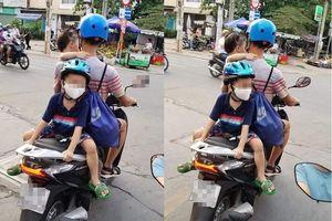 Dân mạng 'nổi điên' với người đàn ông đi xe kiểu đùa giỡn tính mạng 2 đứa trẻ
