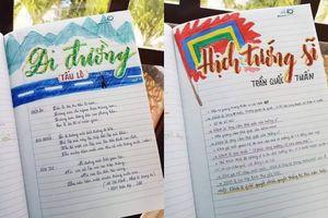 Cuốn vở Ngữ văn được trang trí đầy màu sắc, nhìn vào là muốn học bài ngay!