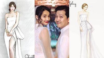 Thiết kế váy Nhã Phương sẽ mặc trong tiệc cưới Trường Giang được hé lộ