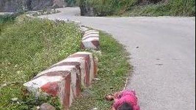 Bé gái ngủ say bên vệ đường đèo Mã Pí Lèng