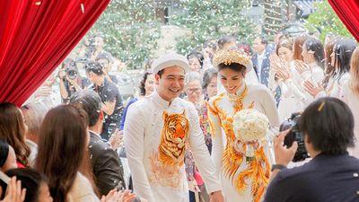 Chịu chơi như Lan Khuê, diện áo dài thêu sợi vàng 18k gần 200 triệu đồng trong đám hỏi