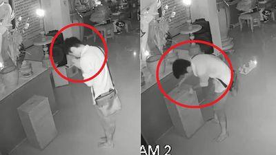 Clip: Thanh niên vái lạy trước khi trộm tiền công đức trong chùa