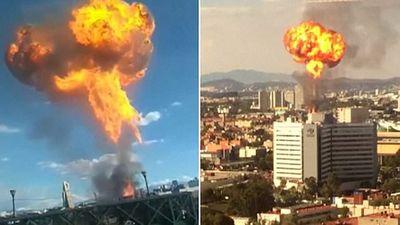 Cháy nhà máy rượu ở Mexico, xuất hiện vòng tròn lửa như nổ bom hạt nhân
