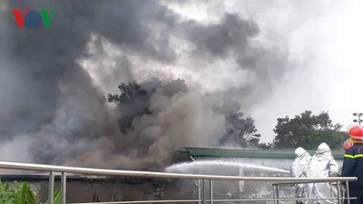 Hiện trường vụ cháy cực lớn gần trụ sở Liên đoàn bóng đá Việt Nam