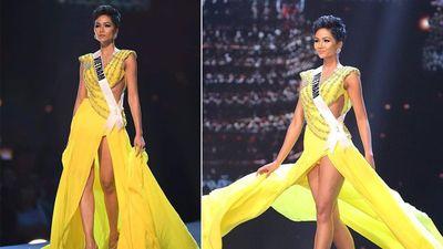 Cú 'hất váy thần thánh' giúp H'Hen Niê tỏa sáng tại bán kết Miss Universe 2018