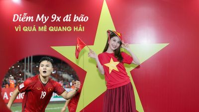Diễm My 9X 'đi bão' và ấn tượng với Quang Hải tại chung kết AFF Cup 2018