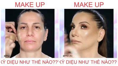 KINH NGẠC pha make-up biến hình từ U50 thành U20 trong nháy mắt