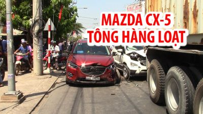 Mazda CX-5 tông hàng loạt ô tô và xe máy, hai vợ chồng bị thương