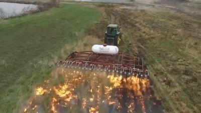 Nông dân Mỹ ưa chuộng kiểu diệt cỏ dại bằng máy phun lửa