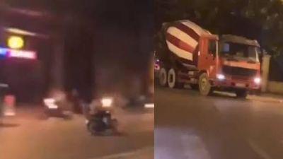 Clip tổ lái đua xe vượt chốt cảnh sát 141, bị xe trộn bê tông cán nát chân