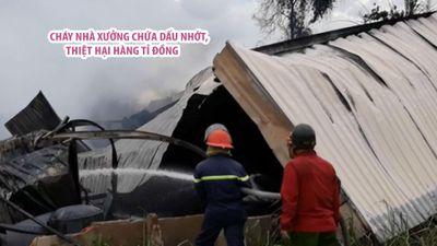 Nhà xưởng chứa dầu nhớt ở Hóc Môn cháy lớn, ước tính thiệt hại hàng tỉ đồng