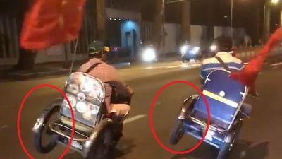 Xe 3 bánh tự chế chạy nghiêng bằng 2 bánh trên đường