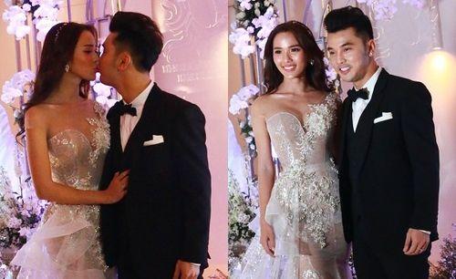 Kim Cương diện váy cưới ôm sát, tình tứ hôn Ưng Hoàng Phúc tại tiệc cưới