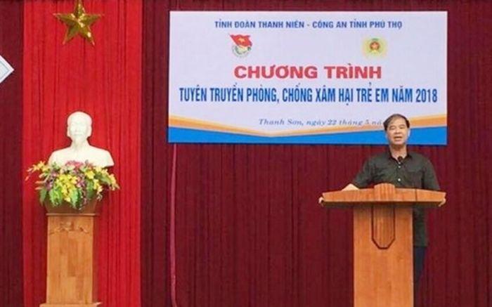 """Ông Đinh Bằng My phát biểu tại """"Chương trình tuyên truyền phòng chống x.âm h.ại trẻ em 2018"""" - Ảnh: VOV"""